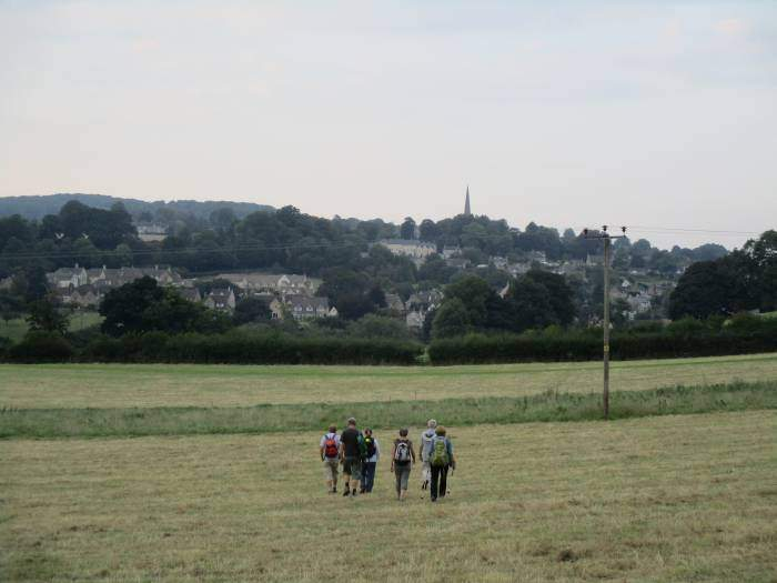 We walk across fields towards Painswick