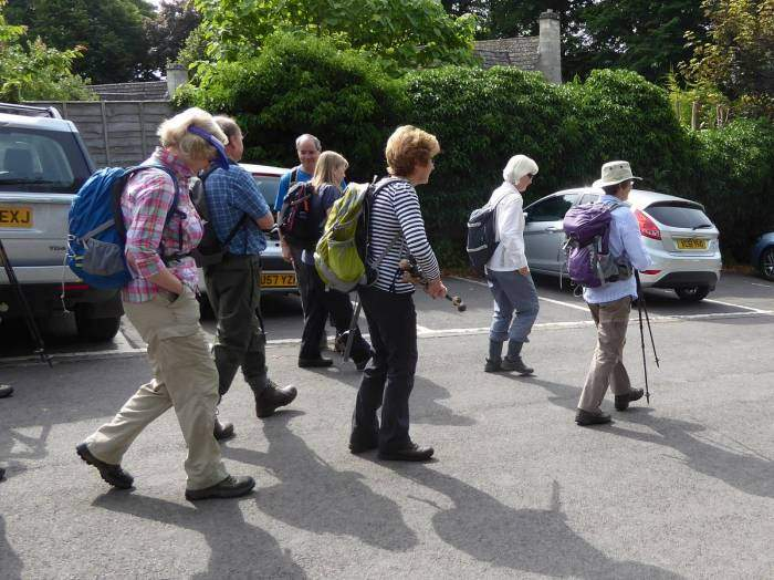Jill leads us off  after sorting out who is on the South Cotswold walk from the Area walk starting at the same time!