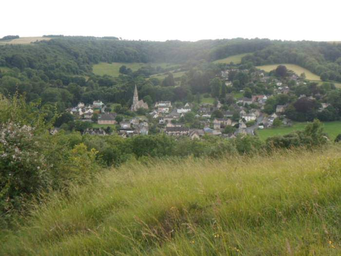 We climb up onto the Common and look down on Woodchester
