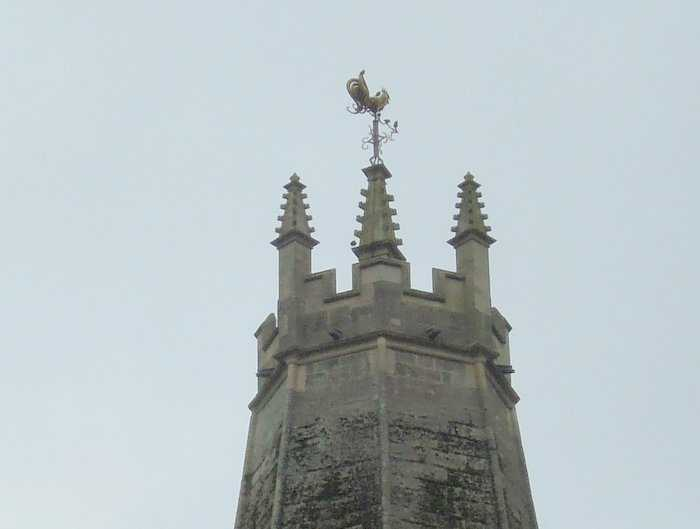 With fancy weather vane