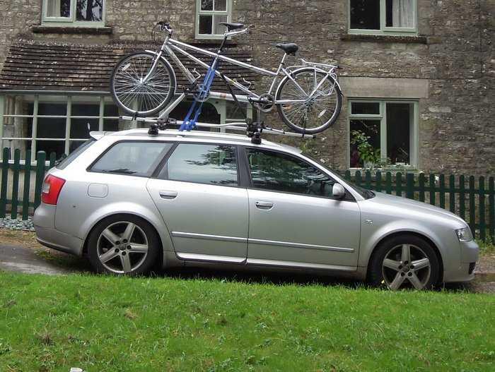 Ever seen a tandem on top of a car? A rare sight