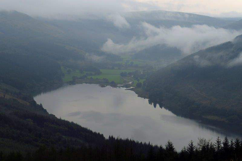 Looking down on Talybont Reservoir