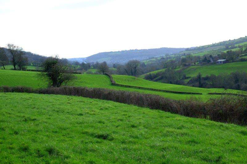 Looking back down the valley to Solsbury Hill