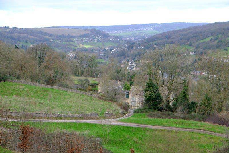 Looking down the valley towards Stroud, Randwick on the side of the hill