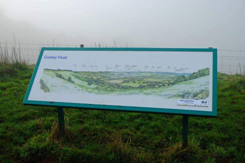Or Coaley Peak - board showing what we could expect to see in better weather