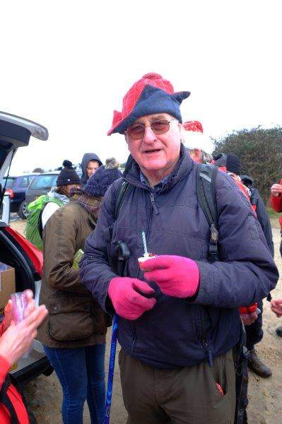 Then over to the car park on Rodborough Common to celebrate Brian's birthday - unfortunately the wind blew the candle out