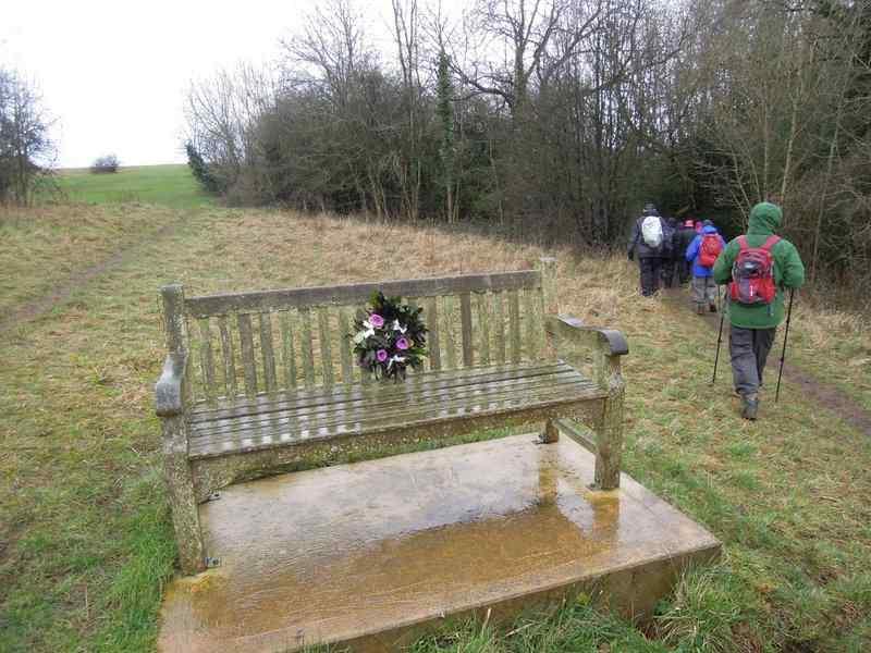 We pass a memorial bench