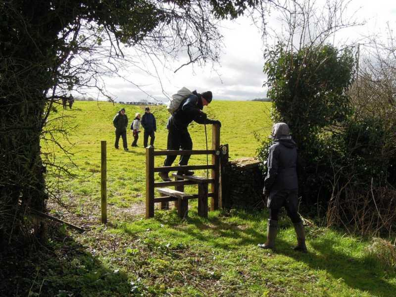 The only stile on the walk, and we are all very pleased with its practicality