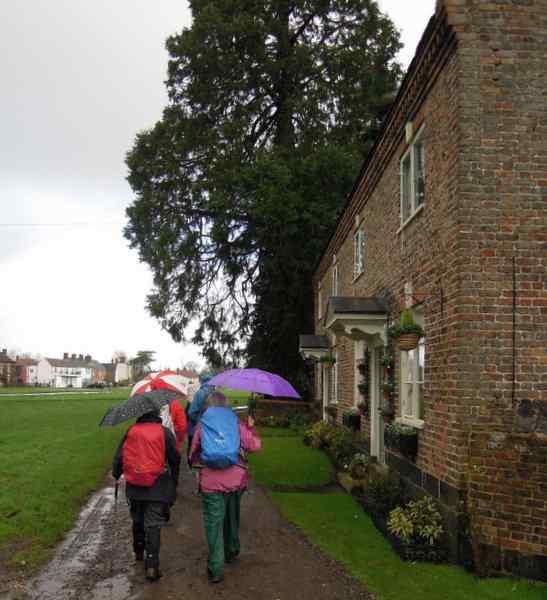 It rains as we set off on Ann's walk from Frampton