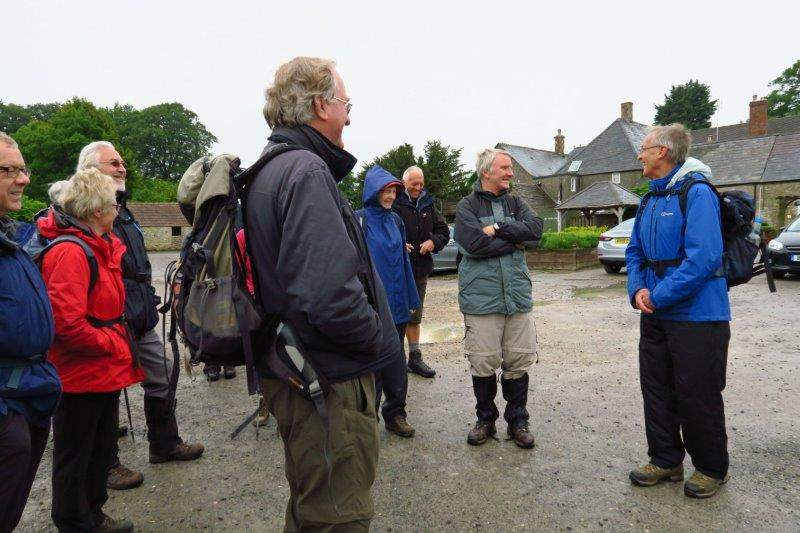 Weather doubtful but Colin attracts a good crowd to the Car Park of the Hunters Hall for his walk