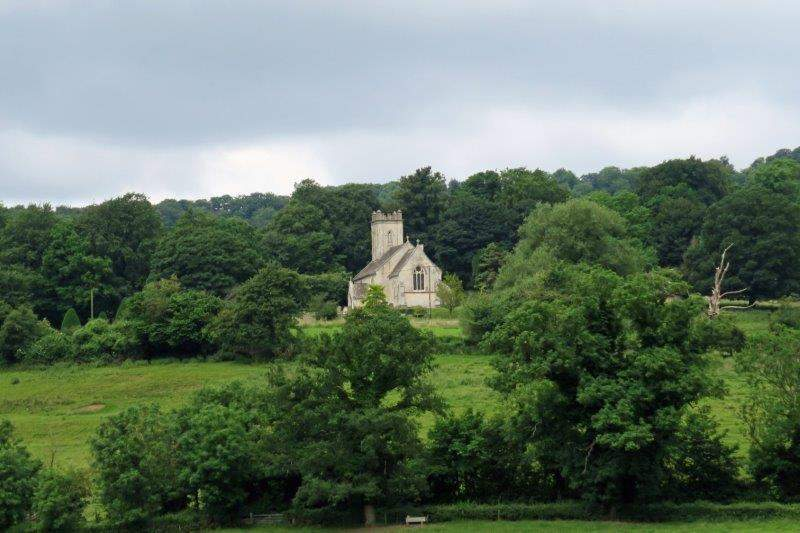 Pitchcombe Church across the valley