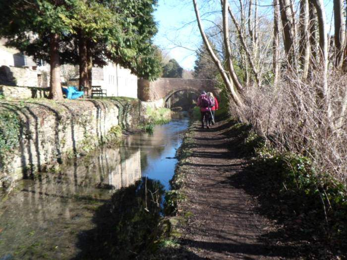 We follow the canal