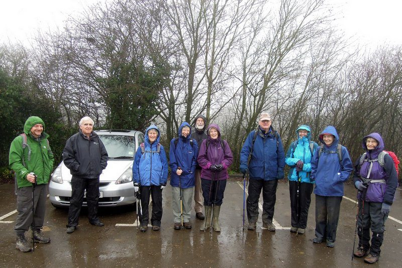 11 hardy souls turn up for Anne's damp leisurely walk.  The camera is put away.