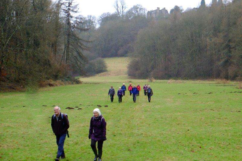 As we make our way along the bottom of the valley - Edgeworth House on  top of the hill