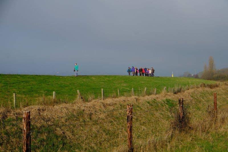 Along a raised embankment