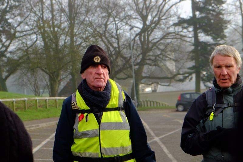 John resplendent in yellow jacket in the Leisure Centre Car Park