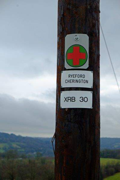 Our route marked by electricity poles - but we are not going from  Ryeford to Cherington today