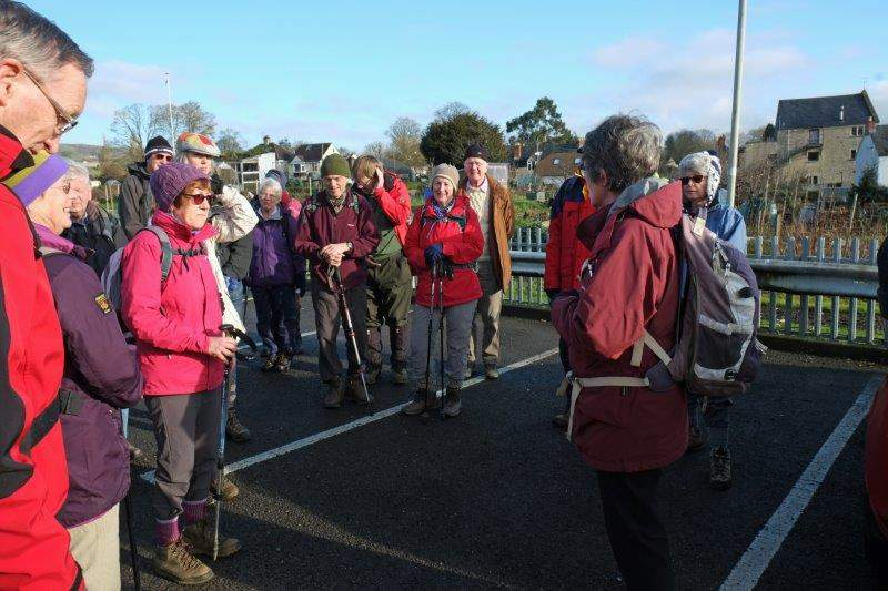 Cainscross CP. Ann greets a large party on a bright sunny day