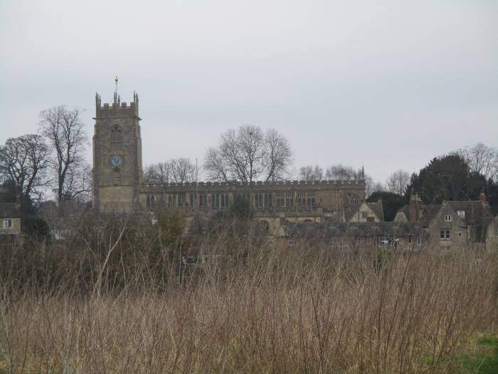 Winchcombe Abbey seen across the fields
