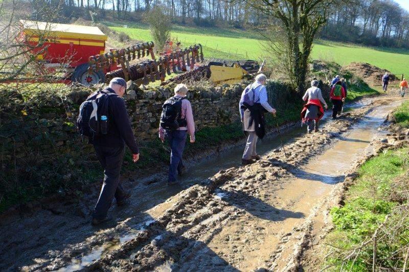 Our path takes us through a muddy farm