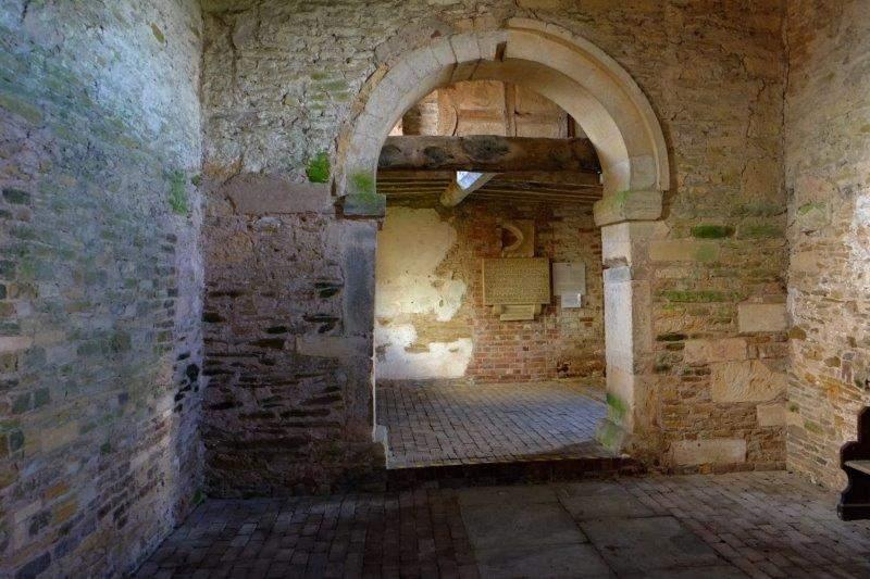 Inside Odda's Chapel, the start of our walk