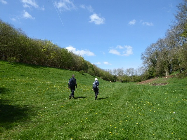 We walk up a dry valley towards Winstone