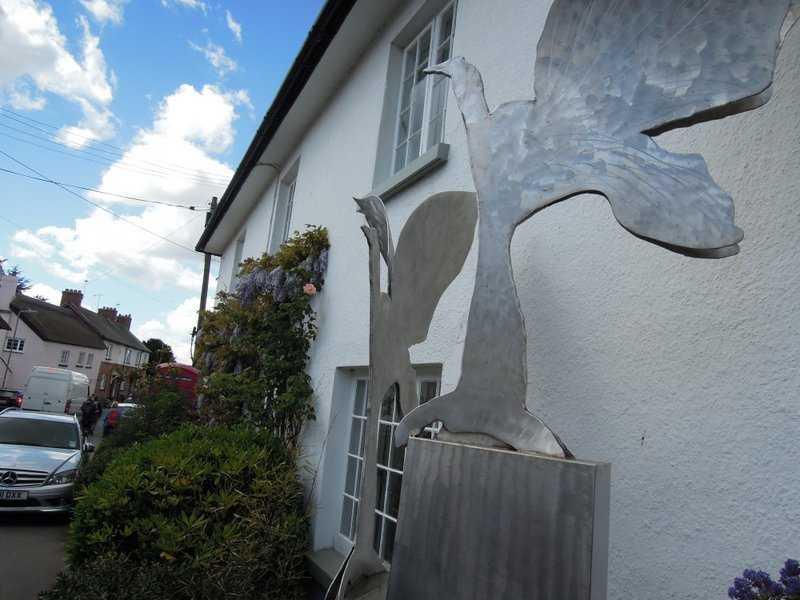 To reach Otterton. A remarkable swan sculpture