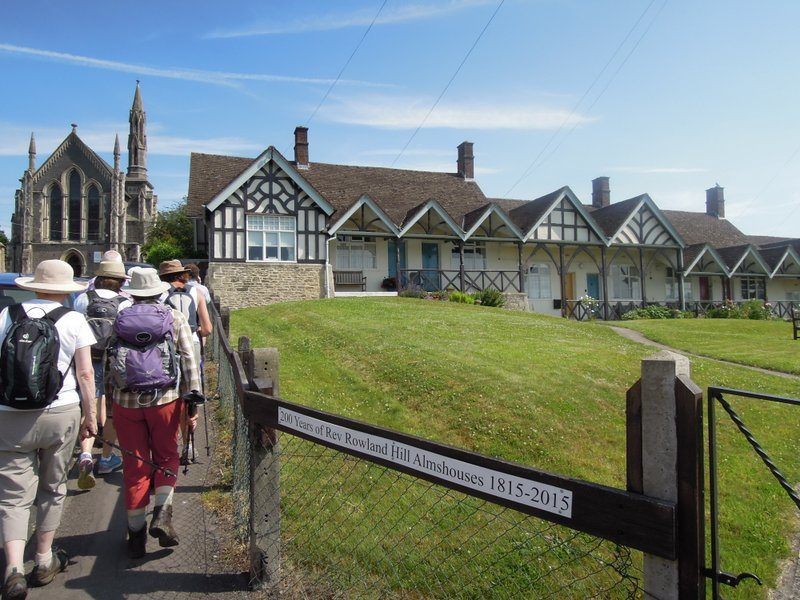 Up past some almshouses