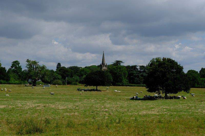 Fretherne church across the field