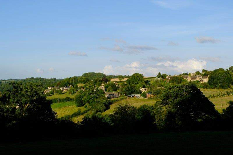 Frampton Mansell across the valley in the evening sunshine