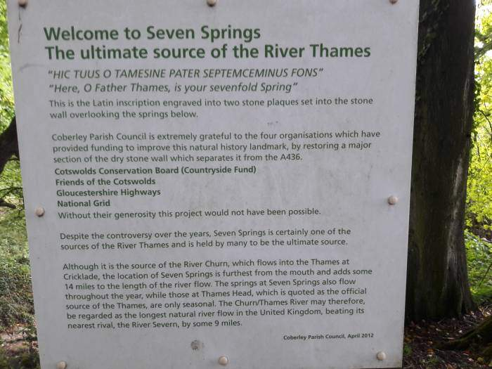 Information about Seven Springs and its connection to the source of the River Thames