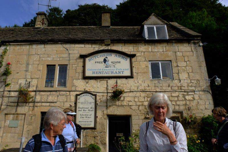 Jill studies her notes as we meet outside the Butchers Arms in Sheepscombe