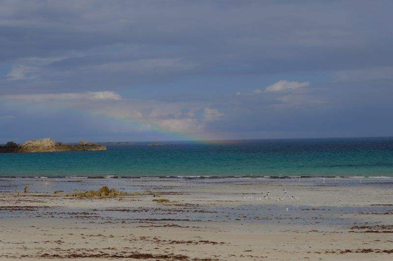 Tides out - a bit of a rainbow but fortunately no rain for us