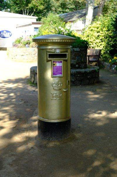 A post box commemorating the gold medal won by Carl Hester in the Olympics