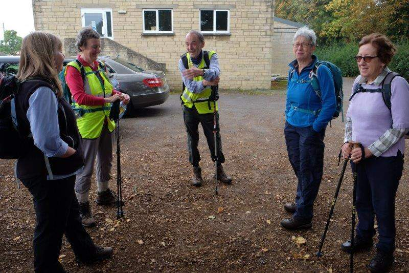 Here we are in Coaley Village Hall CP Peter and Sue enjoying a pre-walk joke