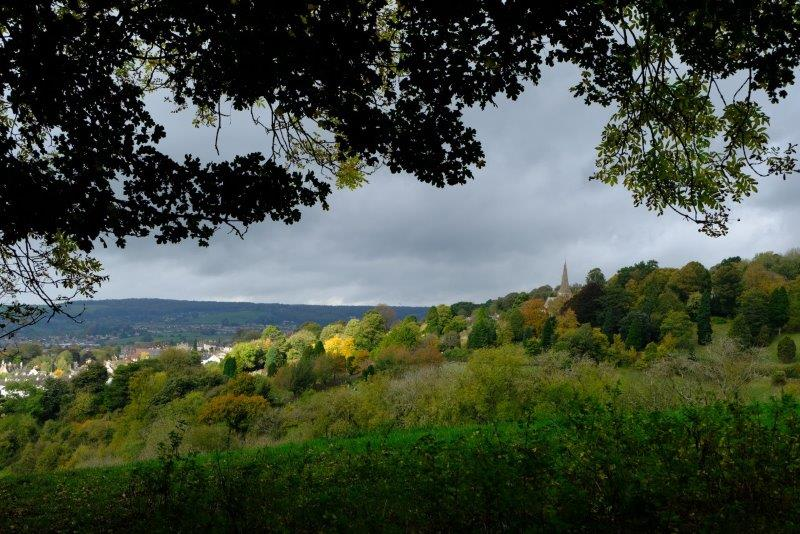 Looking across Stroud and the cemetery
