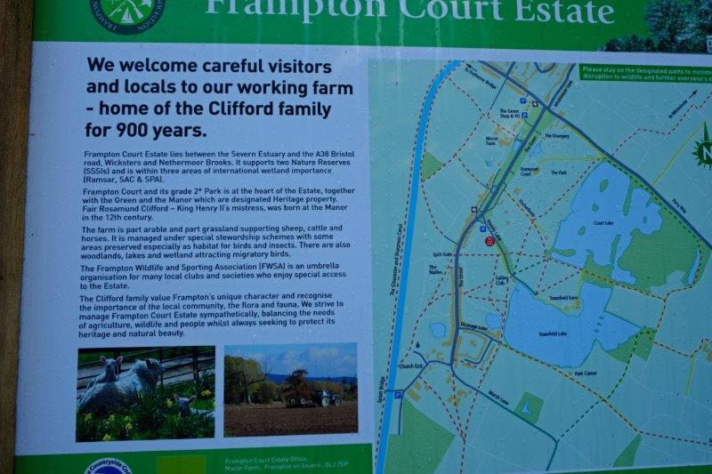 Our path takes us onto the Frampton Court Estate