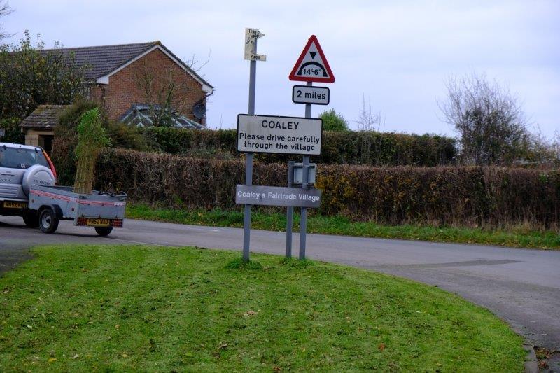 Reaching Coaley, a Fairtrade Village, then continuing uphill
