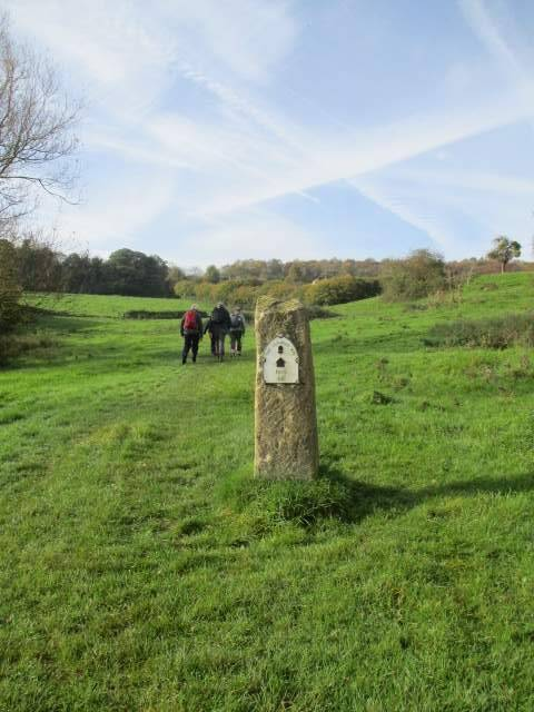 We follow the Cotswold Way past this historic marker