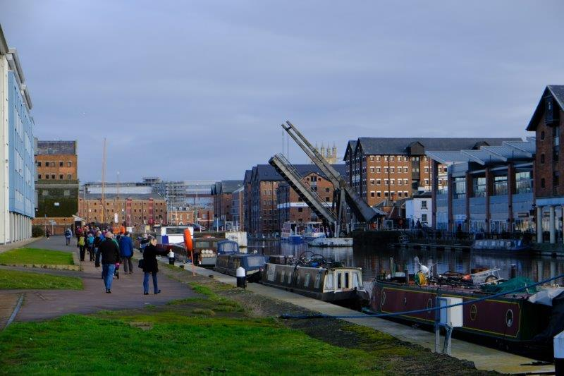 Nearing the docks but the swing bridge has been lifted