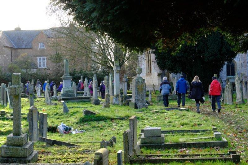 Our path takes us through Hempsted Churchyard