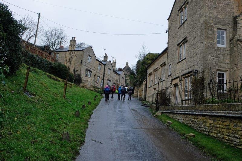 Climbing uphill into the village