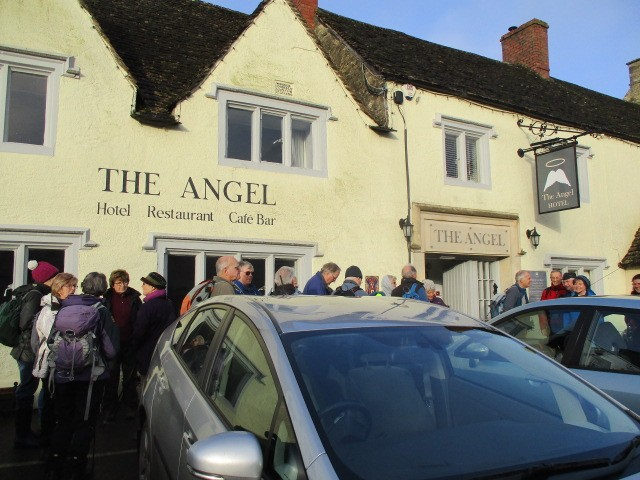 We gather outside The Angel at Sherston