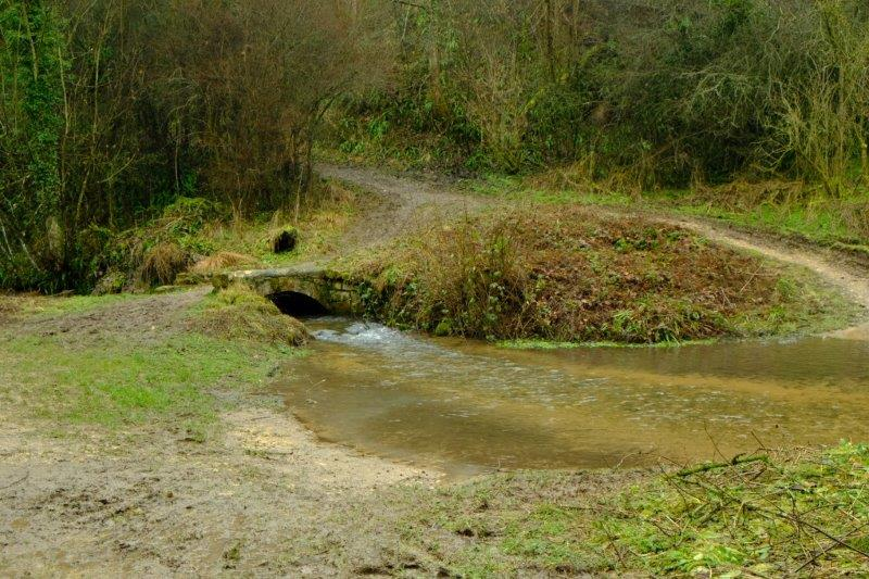 Stream and roads crossing