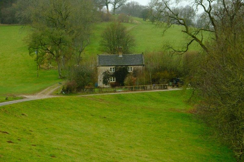 Cottage nestling in the bottom of the valley