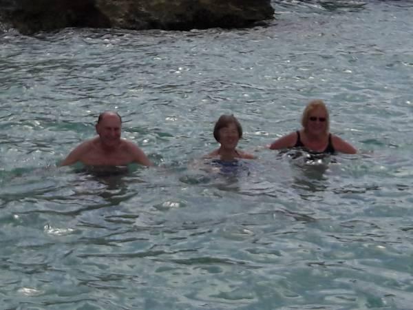 Meanwhile Derek, Di and Margaret take a dip