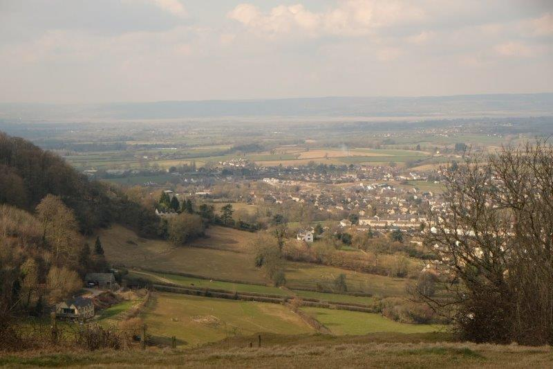 Looking down on Kings Stanley, Stonehouse and other villages in the valley