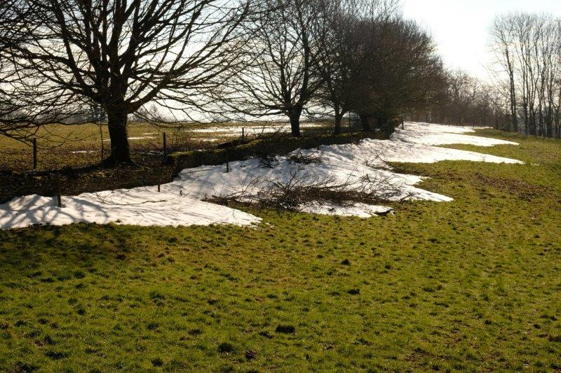 Still remains of snow as we leave Bisley