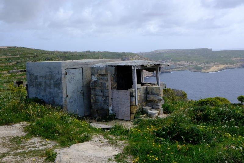 Cliff tops with bird shooting shelters
