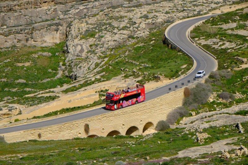 And open top buses visiting the Azure Window - no longer there, destroyed in a storm